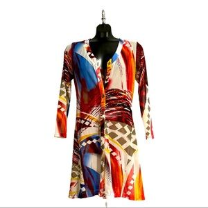 Designs by S.A.D Long Abstract Cardigan Size 8